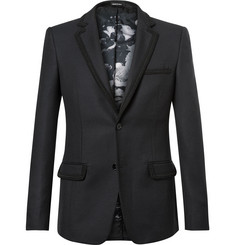 Alexander McQueen - Blue Embroidered Wool Blazer