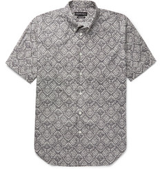 Alexander McQueen Brad Pitt Button-Down Collar Printed Cotton-Poplin Shirt