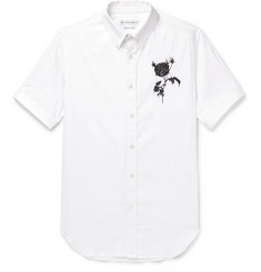 Alexander McQueen Slim-Fit Button-Down Collar Embroidered Stretch Cotton-Blend Poplin Shirt