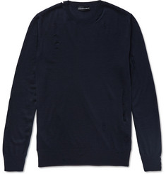 Alexander McQueen Distressed Wool and Silk-Blend Sweater