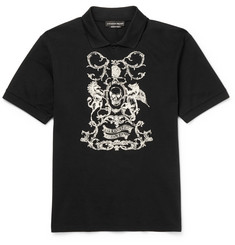 Alexander McQueen - Embroidered Cotton-Piqué Polo Shirt