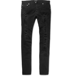 Alexander McQueen - Slim-Fit Jacquard-Trimmed Distressed Stretch-Denim Jeans