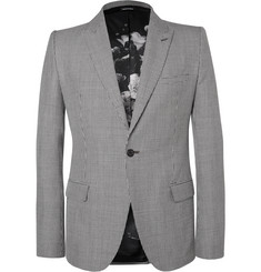 Alexander McQueen Slim-Fit Houndstooth Wool, Mohair and Silk-Blend Blazer