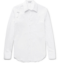 Alexander McQueen Slim-Fit Harness-Detailed Piqué-Panelled Stretch Cotton-Blend Shirt