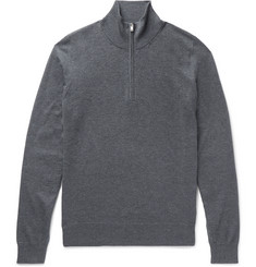 Maison Margiela - Suede-Trimmed Mélange Cotton and Wool-Blend Half-Zip Sweater