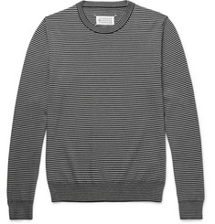 Maison Margiela Suede Elbow-Patch Striped Wool and Cotton-Blend Sweater