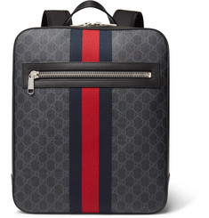 Gucci - Leather-Trimmed Monogrammed Coated-Canvas Backpack