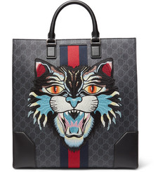 Gucci Angry Cat Leather-Trimmed Appliquéd Monogrammed Coated-Canvas Tote Bag
