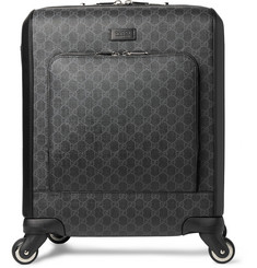 Gucci - Leather-Trimmed Monogrammed Coated-Canvas Carry-On Suitcase