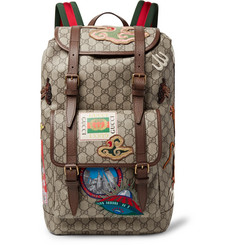 Gucci Leather-Trimmed Appliquéd Monogrammed Coated-Canvas Backpack