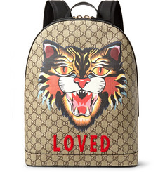 Gucci Angry Cat Leather-Trimmed Appliquéd Monogrammed Coated-Canvas Backpack