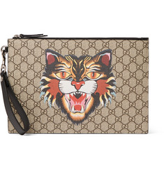 Gucci Leather-Trimmed Printed Monogrammed Coated-Canvas Pouch