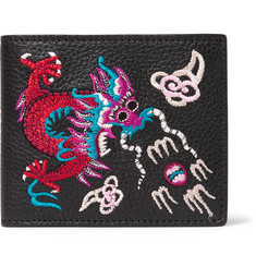 Gucci Embroidered Pebble-Grain Leather Billfold Wallet