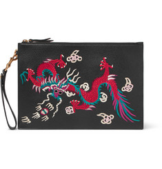 Gucci Reve D'Orient Embroidered Full-Grain Leather Pouch