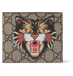 Gucci Angry Cat Printed Coated-Canvas and Leather Billfold Wallet