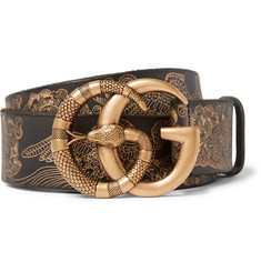 Gucci - 4cm Black Embossed Leather Belt