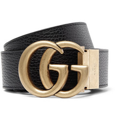 Gucci 4cm Black and Merlot Reversible Full-Grain Leather Belt