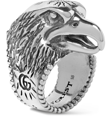 STERLING SILVER ANGRY FOREST EAGLE HEAD RING