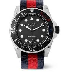 Gucci - Stainless Steel and Webbing Watch