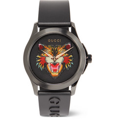 Gucci - 38mm Angry Cat Blackened Stainless Steel and Rubber Watch