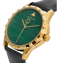 GucciGold PVD-Plated and Leather Watch