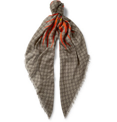 Gucci - Fringed Printed Modal and Silk-Blend Scarf