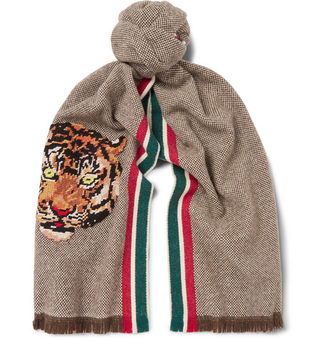 Gucci AppliquÉD Fringed Wool And Cashmere-Blend Scarf In Brown