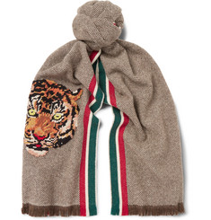 Gucci Appliquéd Wool and Cashmere-Blend Scarf