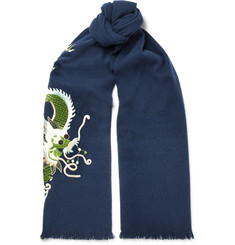 Gucci Fringed Embroidered Wool and Cashmere-Blend Scarf