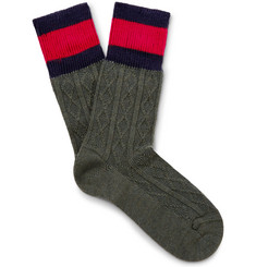 Gucci - Stripe-Trimmed Cable-Knit Stretch Wool-Blend Socks