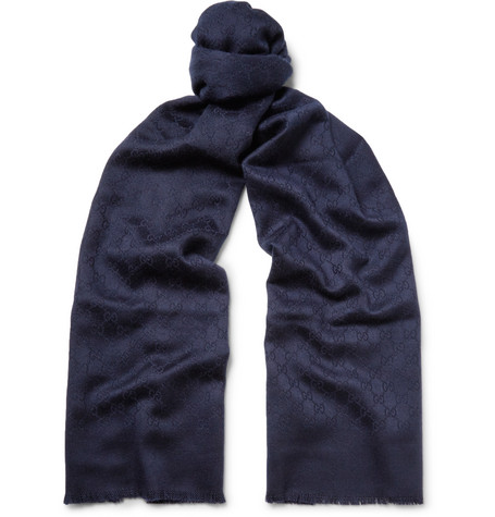 Gucci Gg Cashmere-jacquard Scarf In Navy