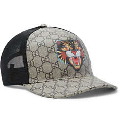 Gucci - Angry Cat Printed Coated-Canvas and Mesh Baseball Cap