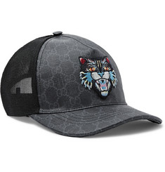 Gucci - Angry Cat Appliquéd Coated-Canvas and Mesh Baseball Cap