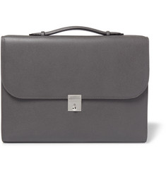 Valextra Slim Portfolio Pebble-Grain Leather Briefcase