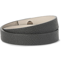 Valextra - Pebble-Grain Leather Wrap Bracelet