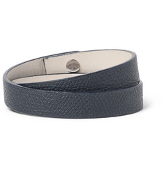Valextra Pebble-Grain Leather Wrap Bracelet