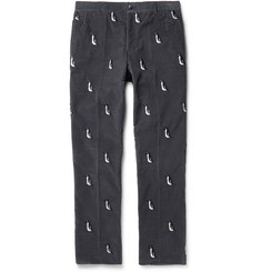Thom Browne Embroidered Cotton-Corduroy Trousers
