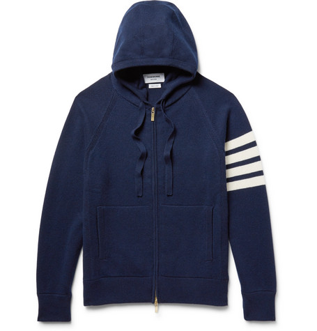Thom Browne Cashmeres STRIPED CASHMERE ZIP-UP HOODIE