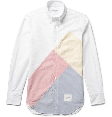 ef1eea1f4f7e Thom Browne Slim-Fit Button-Down Collar Patchwork Cotton Oxford Shirt In  White