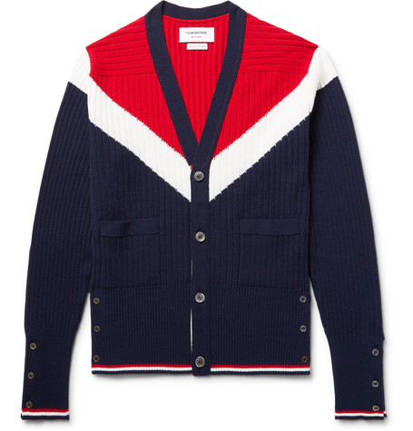 Thom Browne Cashmeres COLOUR-BLOCK CASHMERE CARDIGAN
