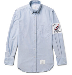Thom Browne Slim-Fit Button-Down Collar Embroidered Cotton Oxford Shirt