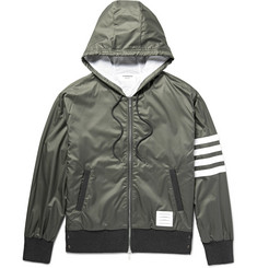 Thom Browne Cotton-Trimmed Striped Ripstop Hooded Bomber Jacket
