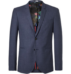 PS by Paul Smith Blue Buggy Slim-Fit Checked Wool Blazer