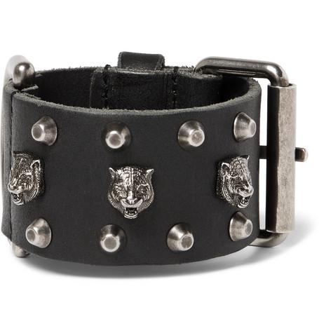 Gucci Embellished leather bracelet d0M3wi
