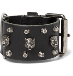 Gucci Tiger-Embellished Leather Bracelet