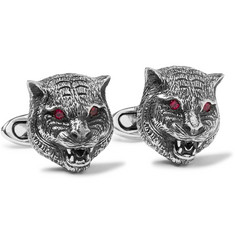 Gucci Tiger Sterling Silver Ruby Cufflinks
