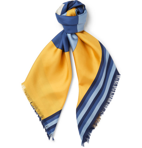 Gucci Fringed Printed Silk-Twill Scarf In Yellow