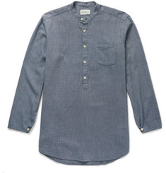 Oliver Spencer Panarea Grandad-Collar Cotton-Jacquard Shirt