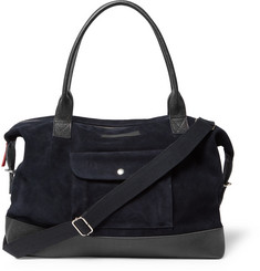 Oliver Spencer Pebble-Grain Leather-Trimmed Suede Holdall