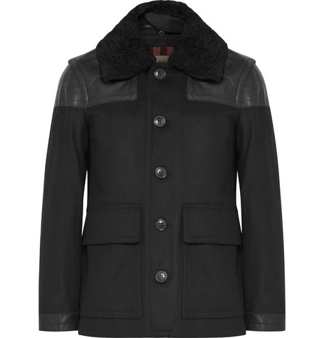 Leather-trimmed Virgin Wool-blend Coat - Black